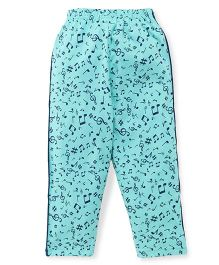 Taeko Full Length Track Pants Musical Notes Print - Cyan