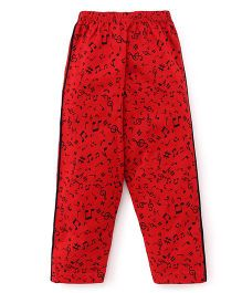 Taeko Full Length Track Pants Musical Notes Print - Red