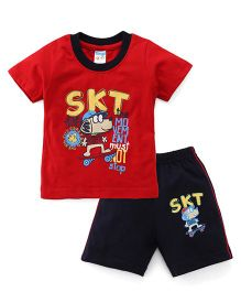 Tango Half Sleeves T-Shirt And Shorts Set Doggy Print - Red