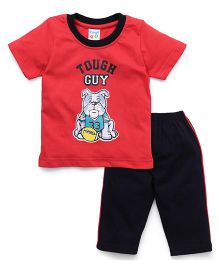 Tango Half Sleeves T-Shirt And Track Pants Set Tough Guy Print - Red Blue
