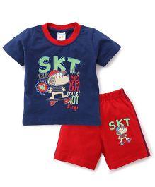 Tango Half Sleeves T-Shirt And Shorts Set - Navy Blue & Red