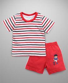 Tango Half Sleeves T-Shirt And Shorts Set Footballer Print - Red