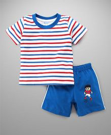 Tango Half Sleeves Striped T-Shirt And Shorts Set - Blue & Red