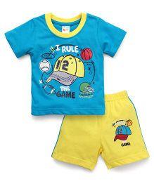 Tango Half Sleeves T-Shirt And Shorts Set The Game Print - Blue Yellow
