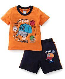 Tango Half Sleeves T-Shirt And Shorts Set The Game Print - Orange Blue