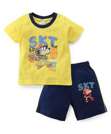 Tango Half Sleeves T-Shirt And Shorts Set Doggy Print - Yellow Blue
