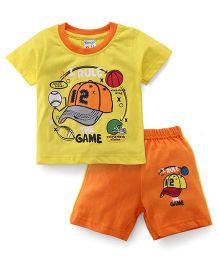 Tango Half Sleeves T-Shirt And Shorts Set The Game Print - Orange Yellow