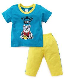 Tango Half Sleeves T-Shirt And Track Pants Set Tough Guy Print - Yellow Blue