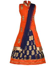 Aarika Long Jacket Lehenga & Dupatta Set - Orange Navy