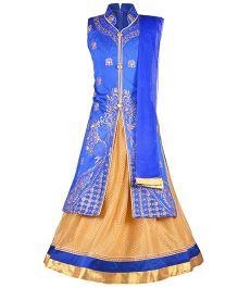 Aarika Embroidered Long Choli Lehenga & Dupatta Set - Blue