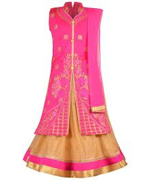 Aarika Embroidered Long Choli Lehenga & Dupatta Set - Pink
