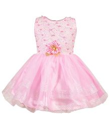 Aarika Party Wear Tutu Dress With Flower Embellished - Pink