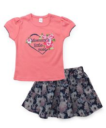 ToffyHouse Top And Skirt Set Heart & Floral Embroidery - Pink