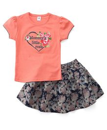 ToffyHouse Top And Skirt Set Heart & Floral Embroidery - Peach