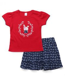 ToffyHouse Top And Skirt Set Bunny Embroidery - Red
