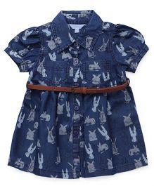 ToffyHouse Short Sleeves Printed Denim Collar Frock - Blue