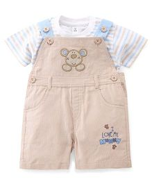 ToffyHouse Corduroy Dungaree With Striped T-Shirt - Beige