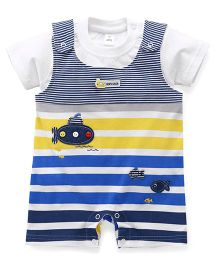 ToffyHouse Half Sleeves T-Shirt With Dungaree Style Romper Set - White Multi Color