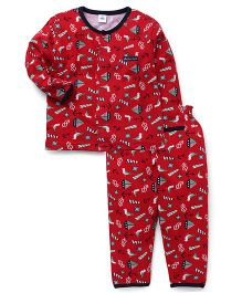 ToffyHouse  Full Sleeves Night Suit Anchor & Boat Print - Red