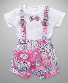ToffyHouse Half Sleeves Tee With Printed Dungaree - White & Pink