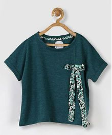 Pluie Short Sleeves Tee With Attached Bow - Green