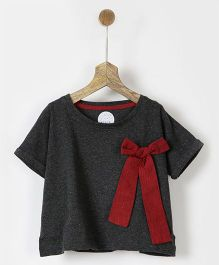 Pluie Short Sleeves Tee With Attached Bow - Grey