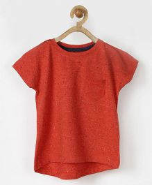 Pluie High Low Tee With Patch Pocket - Orange