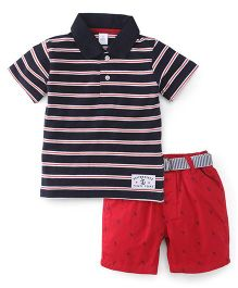 ToffyHouse Half Sleeves Striped Polo Neck T-Shirt And Shorts Set - Navy & Red