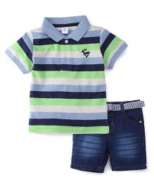 ToffyHouse Half Sleeves Striped T-Shirt And Denim Shorts Set - Blue