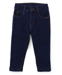 Babyhug Full Length Jeans With Pockets - Dark Blue