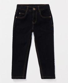Babyhug Full Length Narrow Fit Jeans - Black