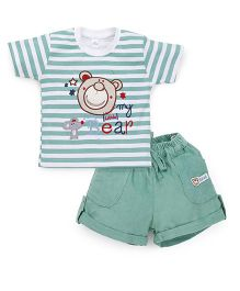 Olio Kids Half Sleeves T-Shirt And Shorts Set Bear Patch - Green