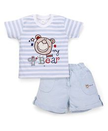 Olio Kids Half Sleeves T-Shirt And Shorts Set Bear Patch - Blue
