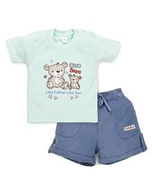 Olio Kids Half Sleeves T-Shirt And Shorts Bear Embroidery - Light Green Blue