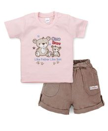 Olio Kids Half Sleeves T-Shirt And Shorts Bear Embroidery - Pink Brown