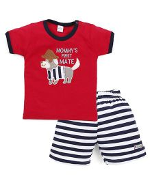 Olio Kids Half Sleeves T-Shirt And Striped Shorts Puppy Embroidery - Red White Navy