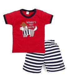 Olio Kids Half Sleeves T-Shirt And Stripe Shorts - Red Navy White