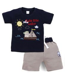 Olio Kids Half Sleeves T-Shirt And Shorts Sailor Embroidery - Navy Grey