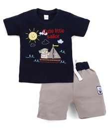 Olio Kids Half Sleeves T-Shirt And Shorts Set Boat Patch - Navy Blue