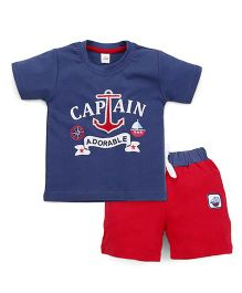 Olio Kids Half Sleeves T-Shirt And Shorts Anchor Embroidery - Blue Red