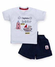 Olio Kids Half Sleeves T-Shirt And Shorts Bear & Boat Embroidery - Light Blue