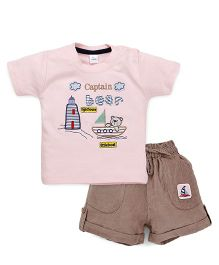 Olio Kids Half Sleeves T-Shirt And Shorts Bear & Boat Embroidery - Pink Brown