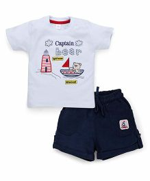 Olio Kids Half Sleeves T-Shirt And Shorts Bear Embroidery - Light Blue Navy