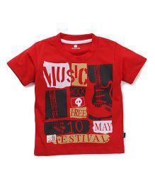 Olio Kids Half Sleeves T-Shirt Music Print - Red
