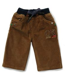 Olio Kids Drawstring Three Fourth Pant - Brown