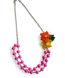 Soulfulsaai Pink Beads & Crochet Necklace - Pink