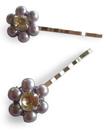 Soulfulsaai Bead Flower Hairpins - White