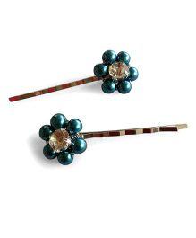 Soulfulsaai Bead Flower Hairpins - Green