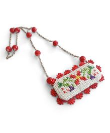 Soulfulsaai Cross Stitch Locket Necklace - Red