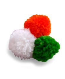 Soulfulsaai Tiranga Mini Pompoms Broach - Orange White & Green